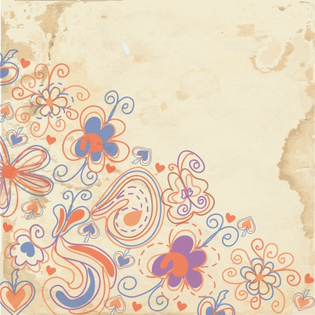 Floral background on the paper texture design  Vector