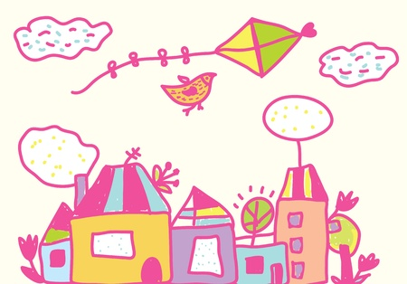 paper kite: Kids funny background with kite, houses, flowers