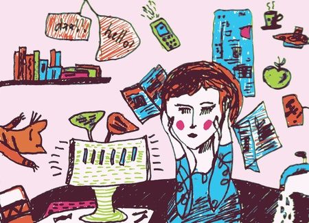 woman headache: Girl is very busy and exhausted cartoon