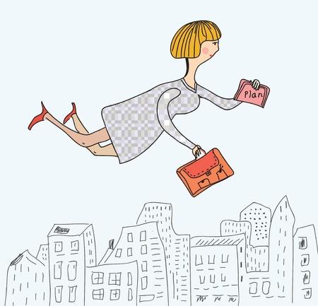 negocios comida: Mujer de negocios que vuelan a trabajar divertidos dibujos animados Vectores