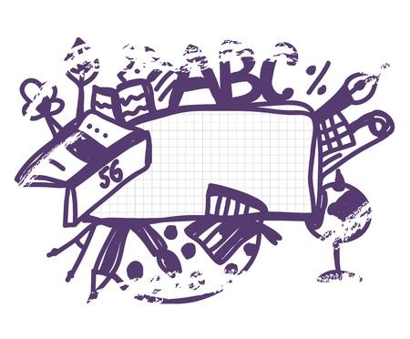 school frame: School frame doodle funny cartoon