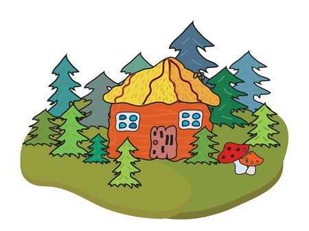 Village house and trees banner cartoon Vector