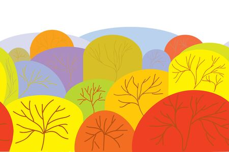 Autumn seamles banner with trees and hills Vector