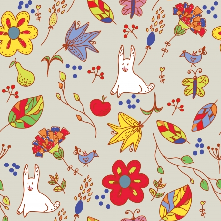 Floral retro seamless pattern with hare and leaves Illusztráció