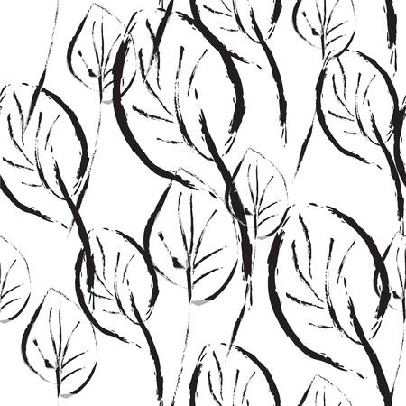 흑인과 백인 원활한 패턴 그래픽 나뭇잎