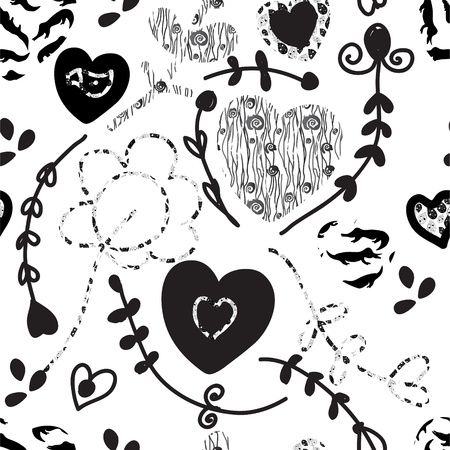 Floral seamless pattern whimsical design in black and white  Vector