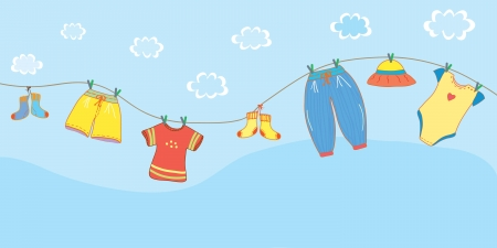 clothes cartoon: Baby clothes banner in the sky cartoon
