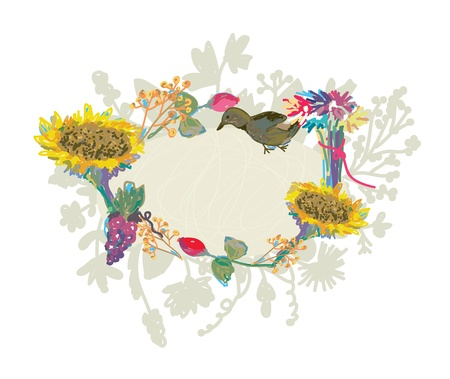 Autumn hand-drawn frame with flowers and bird Vector