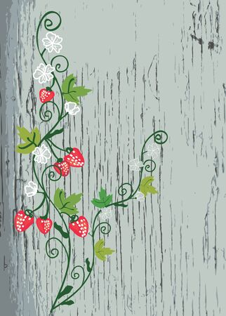 Strawberry on the wood texture background Stock Vector - 15480041