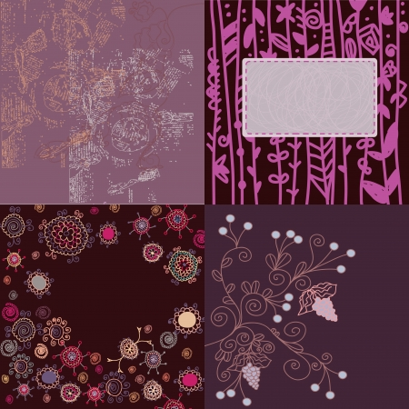 Floral backgrounds set hand drawn design Vector