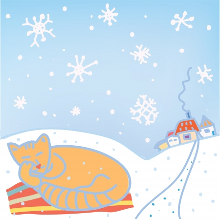 Christmas card with cat, snow, houses Vector