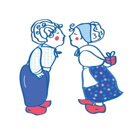 old farmer: Delft blue kissing pair card with present  Illustration