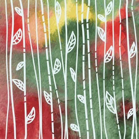Leaves background on the watercolor grunge texture Vectores