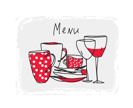 Menu hand drawn design with pottery and glasses Vector