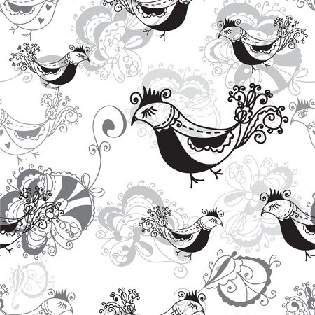 Seamless pattern with birds black and white design Stock Vector - 15567284