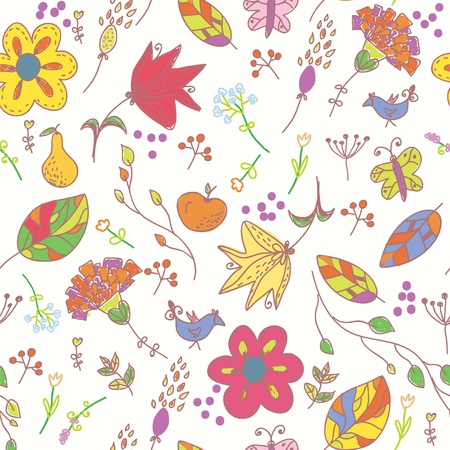 Floral pastel seamless wallpaper with birds and butterflies