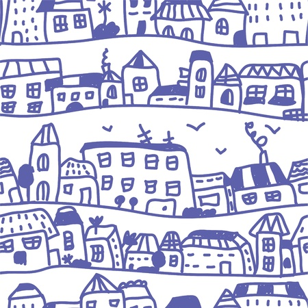 Houses seamless pattern doodle design Vector