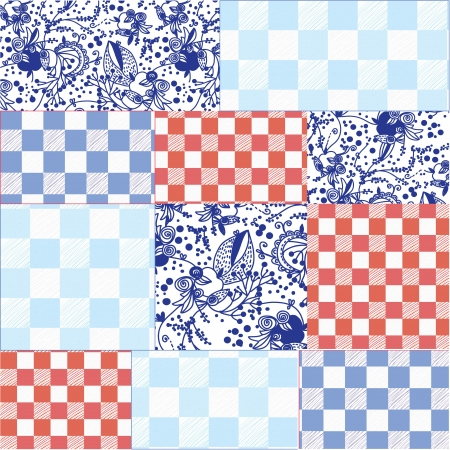 Seamless patchwork pattern delfts blue design Vector