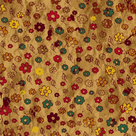 drawing on the fabric: Floral grunge background on the paper texture