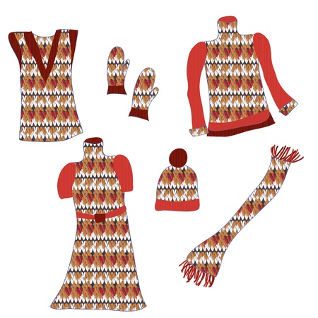 Knitted clothes with pattens for winter set Vector