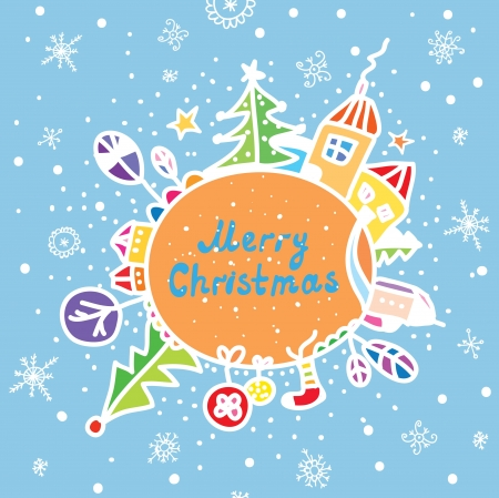 Merry christmas greeting card funny cartoon Stock Vector - 15782738
