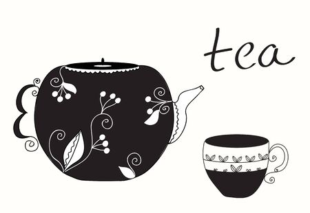 cup: Tea cup and teapot menu background Illustration