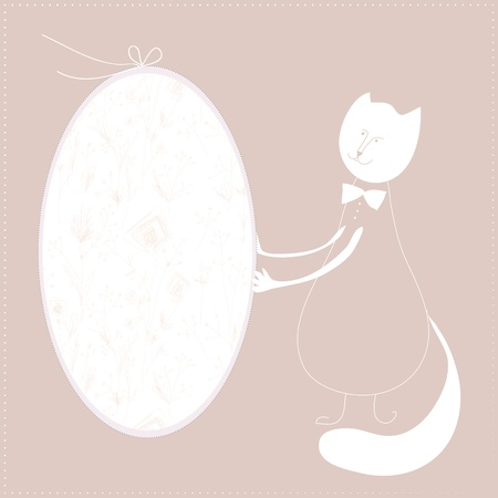Abstract cat with holiday frame background Vector