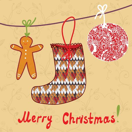 Christmas card with sock, gingerbread and ball Vector