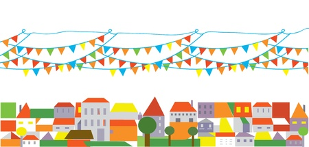 Holidays city with banner of flags background Stock Vector - 15968355