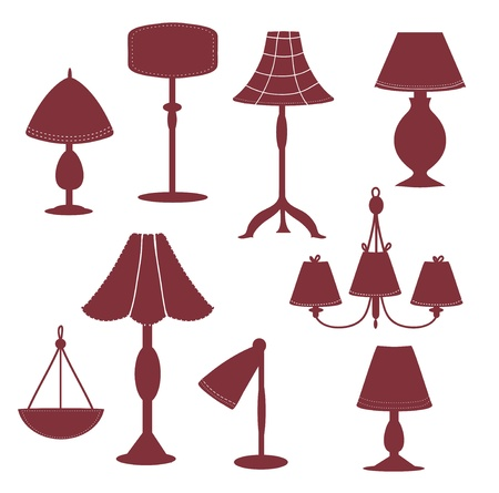 Lams silhouette with patterns set Vector