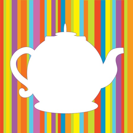 Tea pot menu funny background in bright colors Stock Vector - 15968335