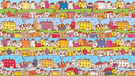 Houses in the town funny background for kids Illustration
