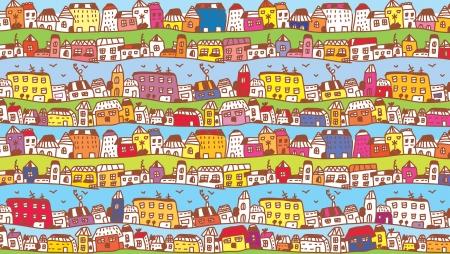 Maisons dans la ville de fond drôle pour les enfants