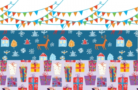 Christmas banner set with patterns funny design Stock Vector - 16134978