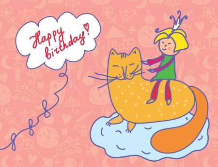 Happy birthday card with child and cat funny Stock Vector - 16134964