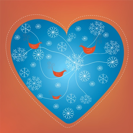 Christmas heart holiday card with snow and birds Vector