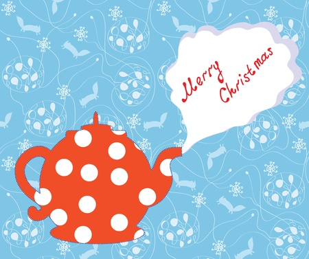 Christmas card with tea pot and pattern Vector