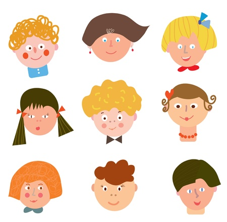 Children funny faces set cartoons Vector