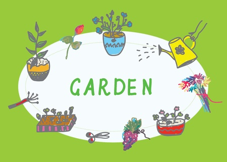 watering garden: Gardening banner with flowers and instruments