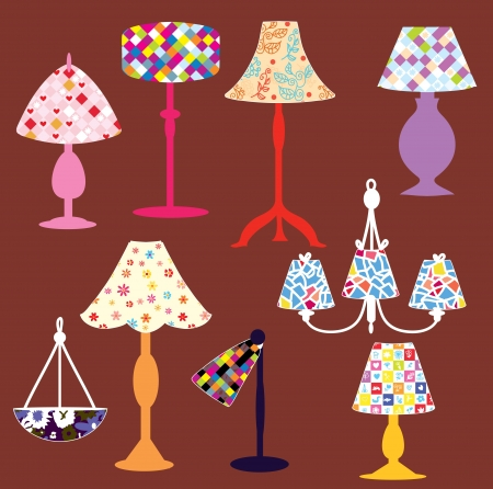 home accessories: Lighting lamps set with patterns Illustration