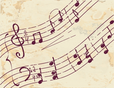 Musical note background on the paper texture Vector
