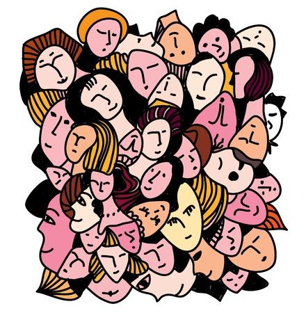 Female concept - many faces and expression background Illusztráció