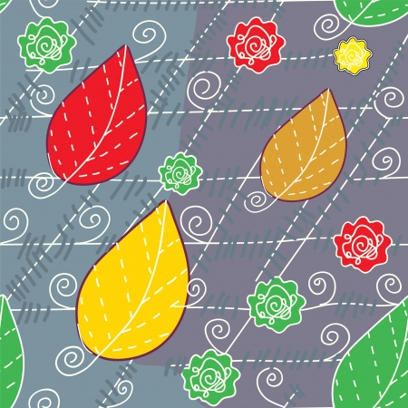 Leaves and lines autumn seamless pattern Stock Vector - 16262539