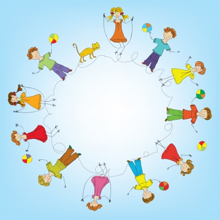 Children in a circle frame Vector
