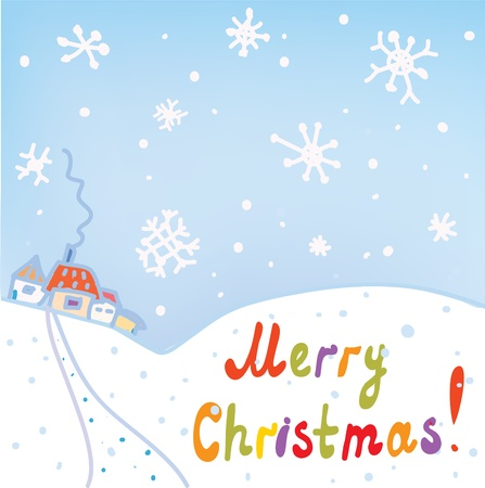 Christmas card with town and snow Stock Vector - 16456588