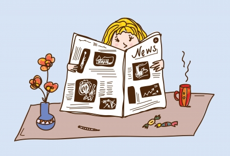 newspaper articles: Girl reading newspaper at the tea table cartoon