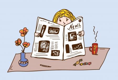 Lisant le journal Fille à la bande dessinée table à thé Vecteurs