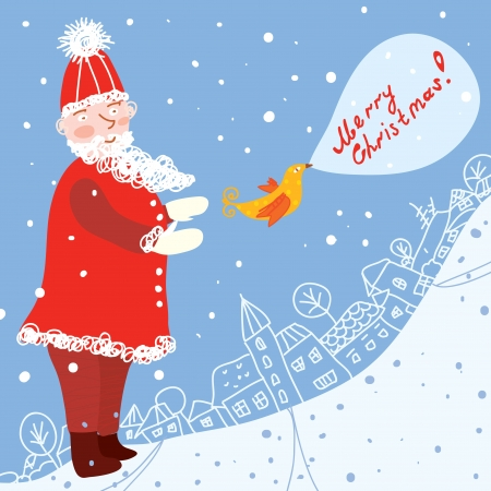 Christmas card with santa and town funny Vector