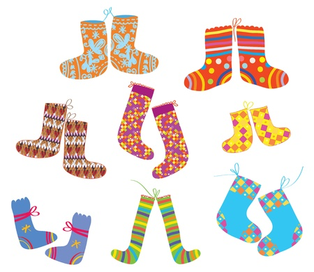 Socks set for christmas children style Vector
