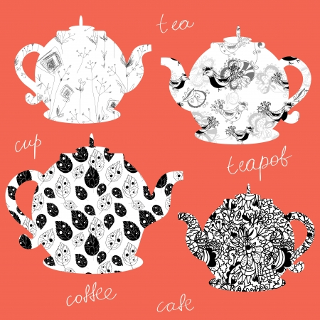 Teapots icons with floral patterns set Vector